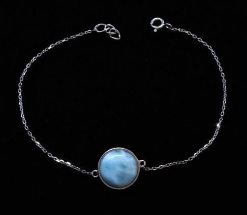 Larimar Evil Eye Sterling Silver Bracelet