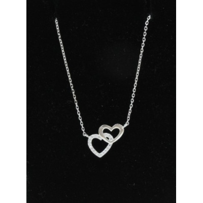 Sterling Silver Pendant Double Small Cubic Zirconia Set Heart And Disc